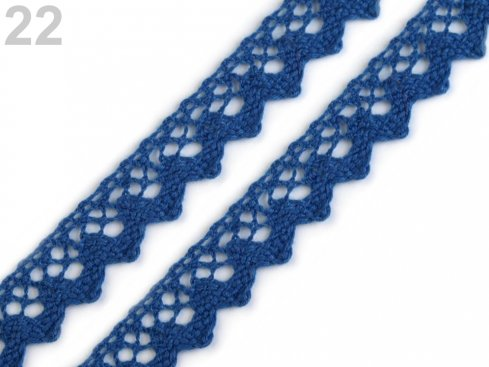 krajka bavlna 1,5cm paličkovaná modrá
