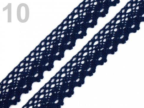krajka 28mm paličkovaná tm.modrá