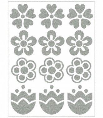 reflexní nažehlovačky 12ks květiny na archu 12x9cm