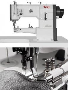 Šicí stroj pro kožedělnou a čalounickou výrobu, úzké ramínkoa lemovačem a potrojným podáváním, velký chapač, AC servomotor a jehelní pozicí