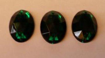 štrasové kameny zelené ovál - 3ks
