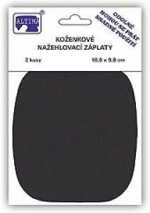 záplata nažehlovací koženka černá 11x10cm