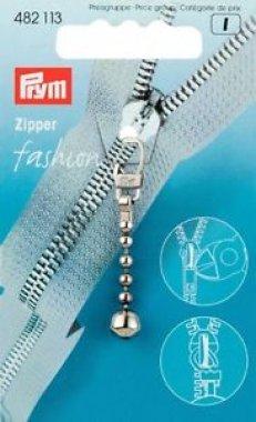 přívěšek na zip - stříbrný s kuličkou
