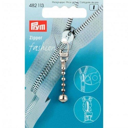 přívěšek na zip - stříbrný s kuličkou-