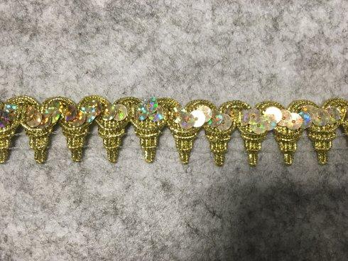 prýmek leonský s flitry 25mm zlatý