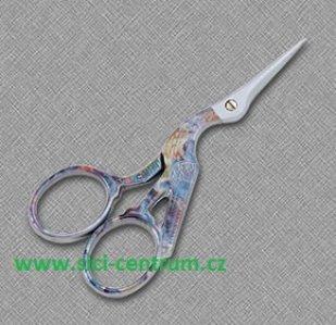 vyšívací nůžky čapí duhové - 9cm