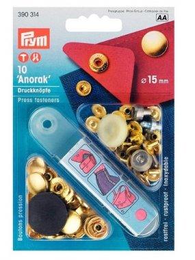 druk stiskací-Anorak/WUK 15mm-zlatá 10ks