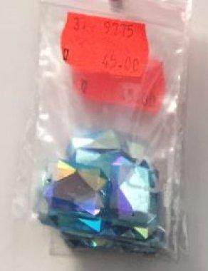 štrasové kameny perleťové tyrkys 3ks 18x14mm