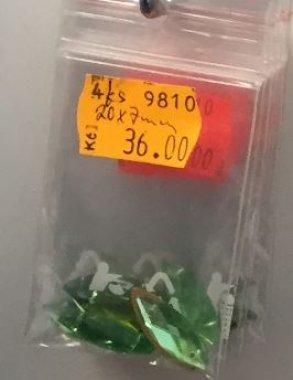 štrasové kameny slza sv.zelená 4ks 20x7mm